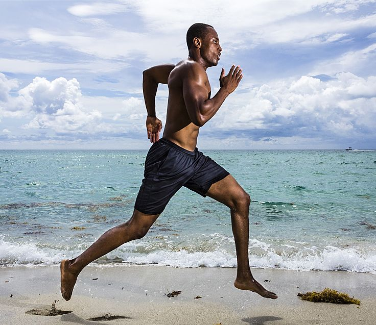 Barefoot running is just perfect at the beach