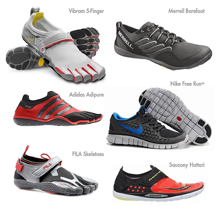 The range of shoes available for bare foot running