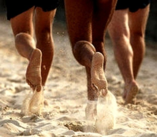 Beach running provide the ideal opportunity to run barefoot and the extra drag helps build strength, stamina and aerobic capacity.