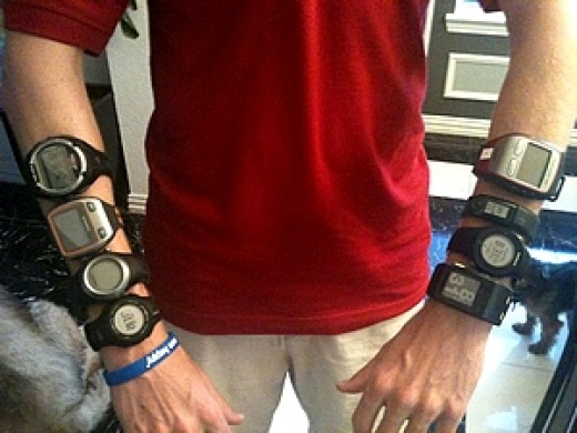 Runner with eight watches for the tests