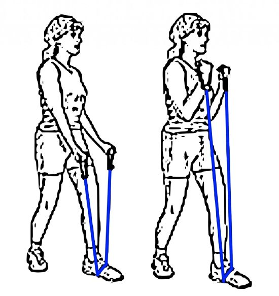 Good exercise for the arms using resistance bands