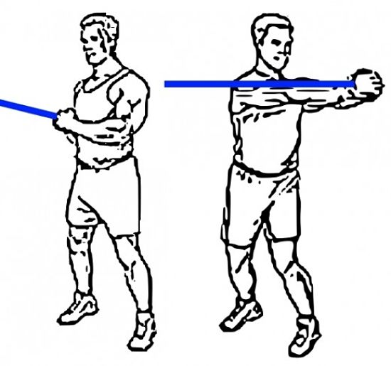 This resistance band exercise is good for the back, torso and shoulders