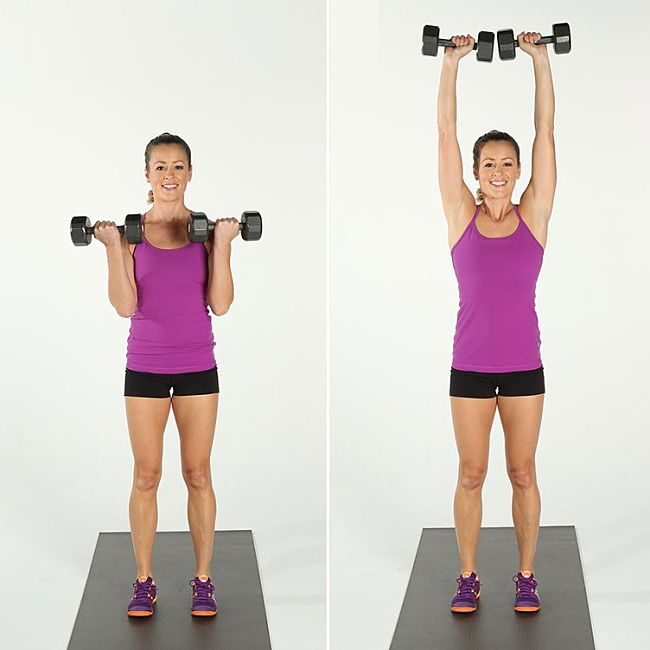 The Bicep Curl to Overhead Press Conditioning Exercise Using Hand Weights