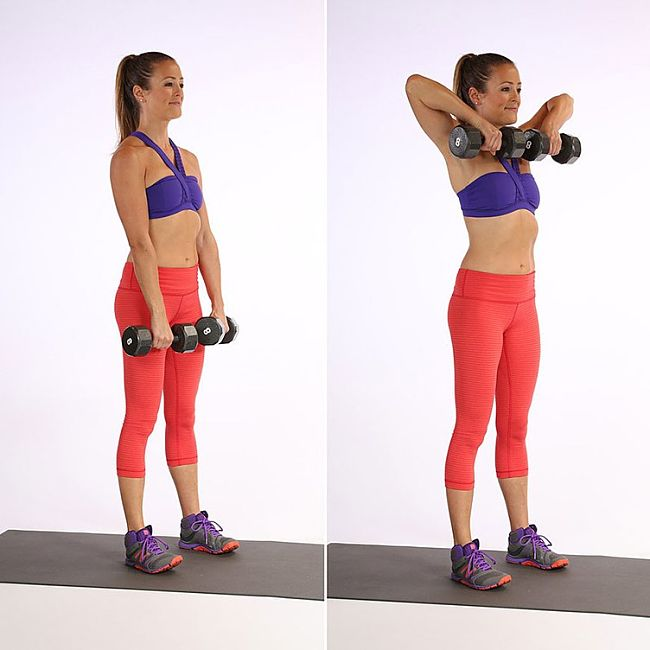 Upright Row Conditioning Exercise Using Hand Weights