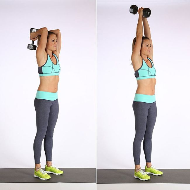 Overhead Triceps Extensions Conditioning Exercise Using Hand Weights