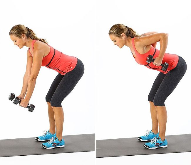 Bent-Over Row Conditioning Exercise Using Hand Weights