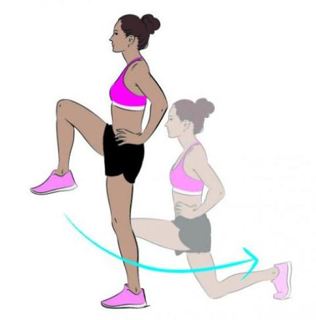 Reverse Lunges Warm up and cardiovascular exercise