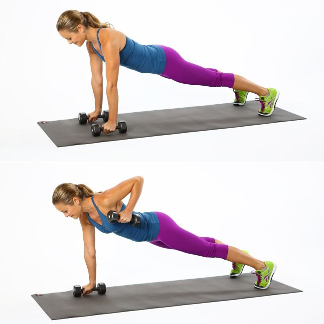 Rows from Plank Conditioning Exercise Using Hand Weights