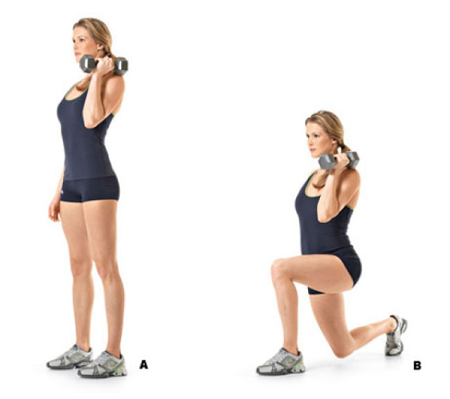 Dumbbell Offset Reverse Lunge Conditioning Exercise Using Hand Weights