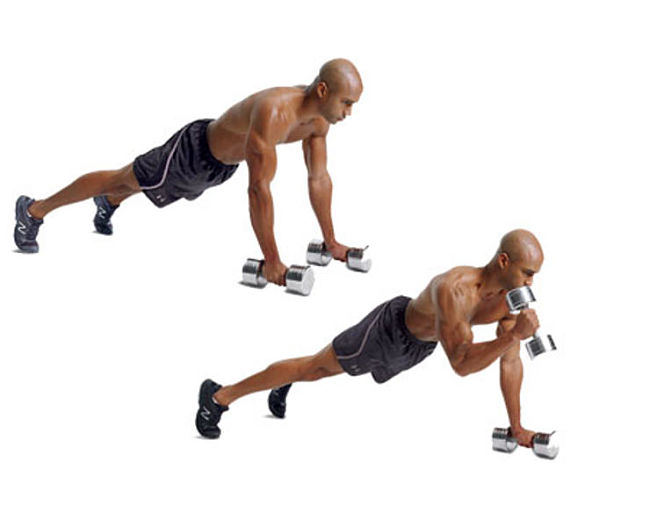 PushUp-Position Hammer Curl Conditioning Exercise Using Hand Weights
