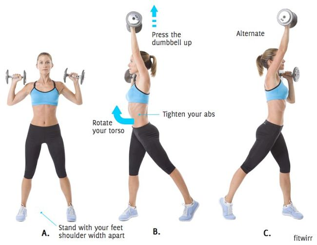 Dumbbell Squat to Alternating Shoulder Press and Twist Conditioning Exercise Using Hand Weights
