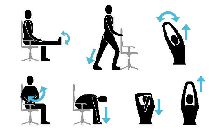 Simple exercises and streches you can so in the office